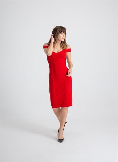 Rue Çift Askı Düşük Kol Triko Elbise Kırmızı